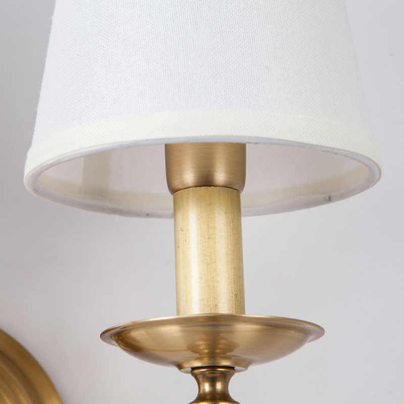 Современный настенный светильник из настоящей меди, настенные бра, тканевый абажур, зеркало для ванной комнаты, прикроватный шкаф, Светильники для дома, освещение BLW038