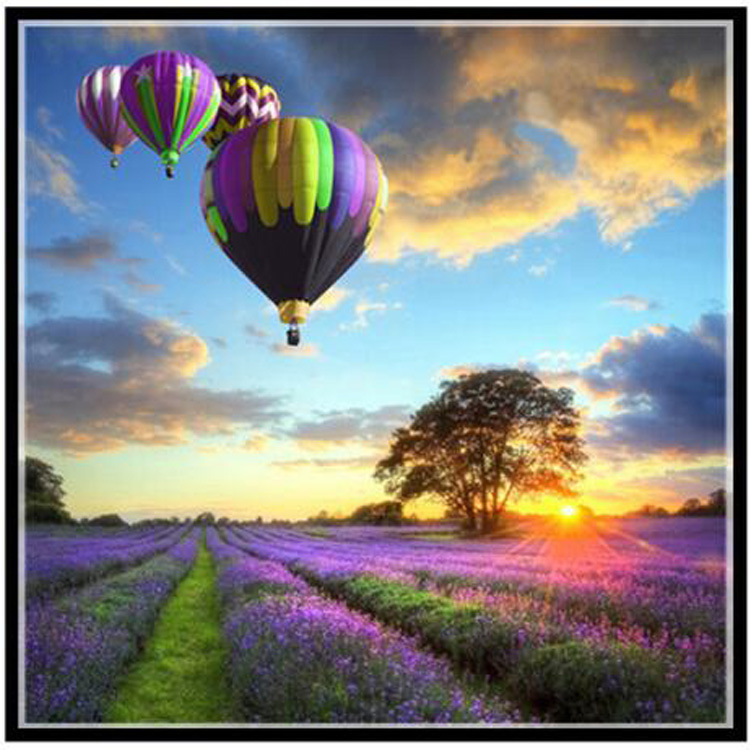 Lavender Flower Sea Needlework,DIY DMC 14CT fashion Cross stitch For Embroidery kits,Romantic Hot Air Balloon Cross-Stitching