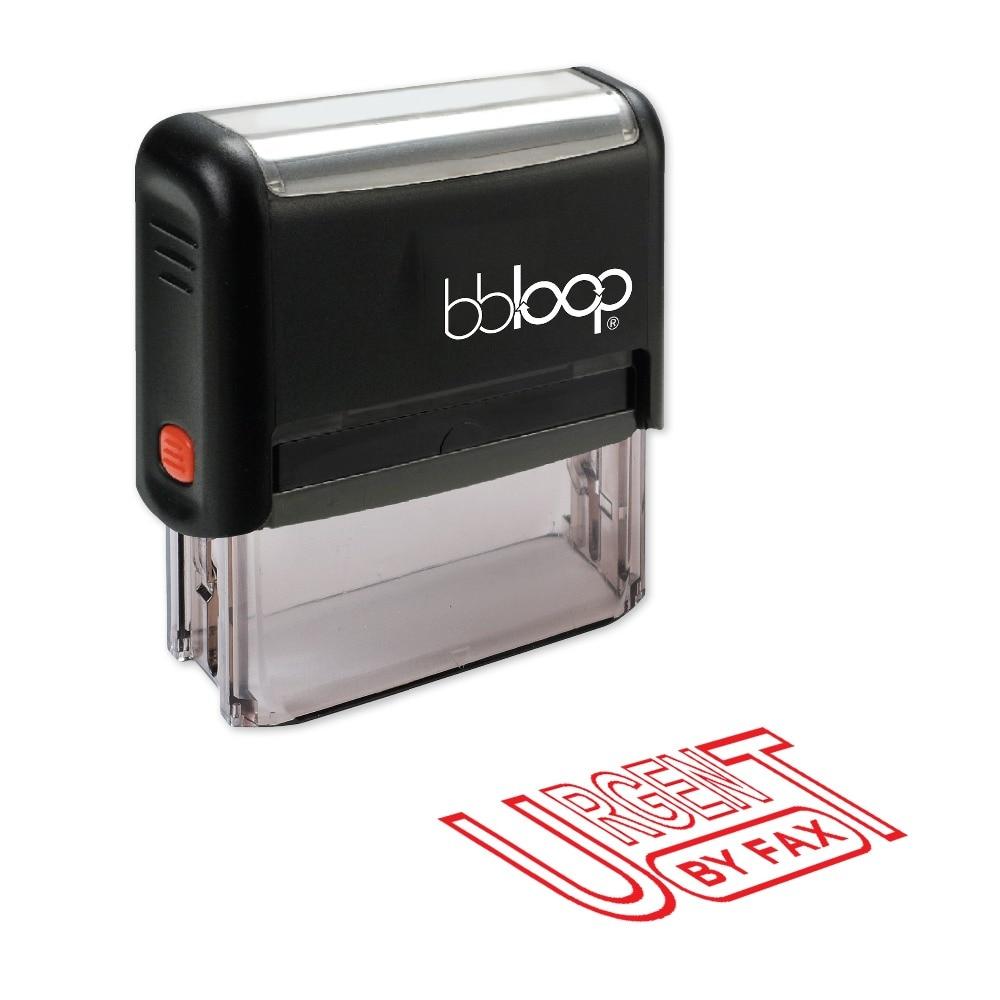 BBloop URGENT BY FAX Outline Self-Inking Stamp, Rectangular, Laser Engraved, RED/BLUE/BLACK 10 digit 9 wheels gray light blue rubber band self inking numbering stamp