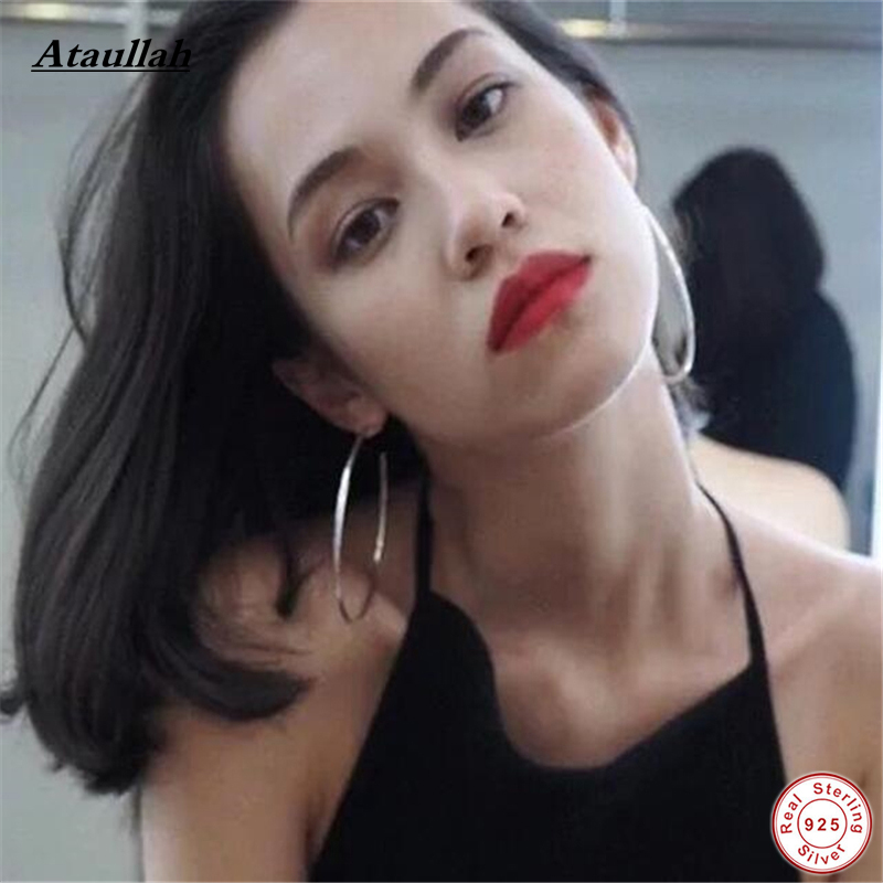Ataullah Brand New Simple 925 Sterling Silver Fine Exaggerated Big Circle Hoop Earrings Silver For Women Earrings Jewelry EWH001