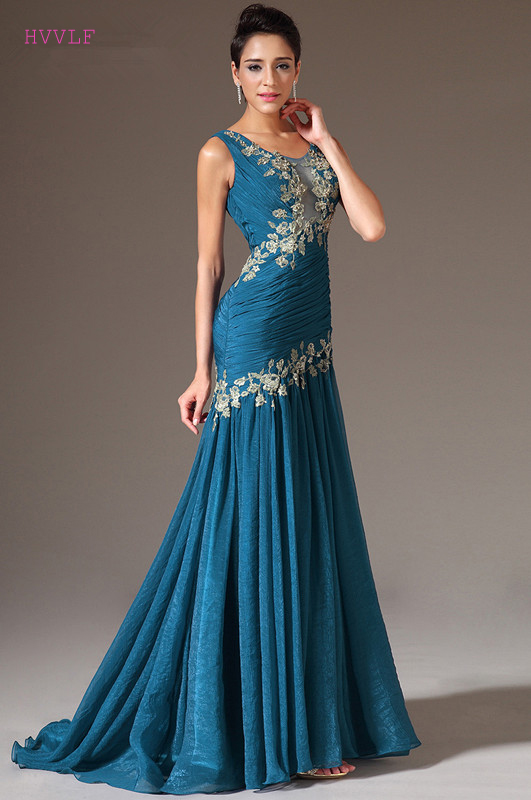 Blue Evening Dresses 2019 Mermaid Chiffon Appliques Beaded See Through Plus Size Long Evening Gown Prom