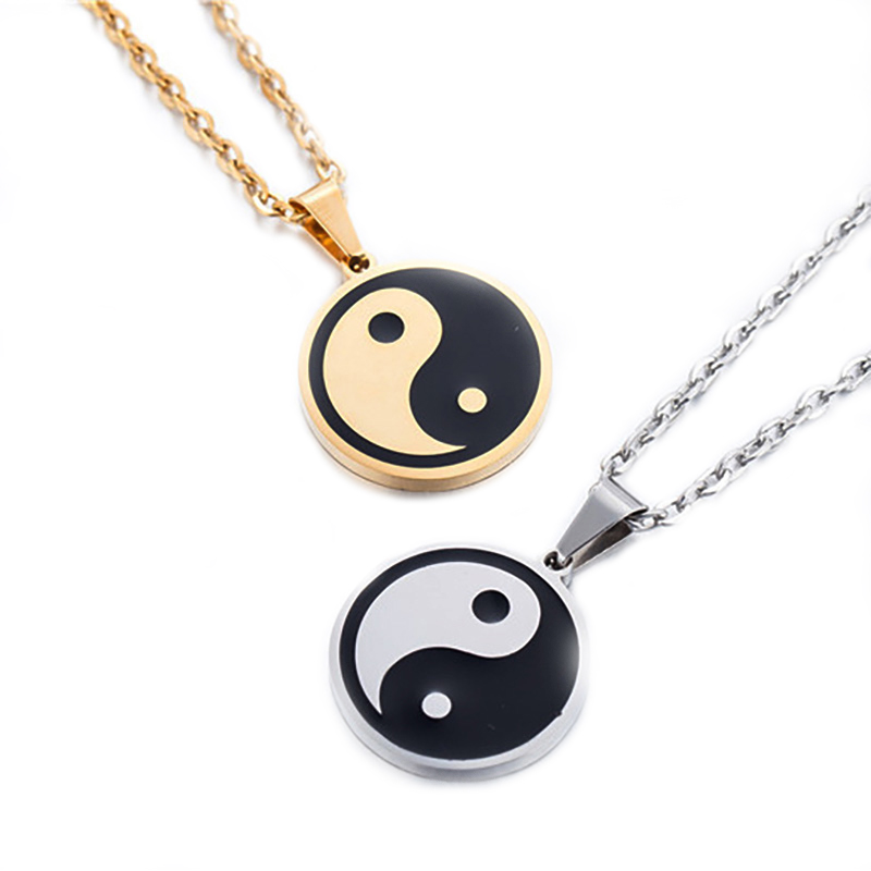 Clasisic Stainless Steel Pendant For Women Men Black White Enamel Tai Chi Yin Yang Necklace Statement Jewelry Friendship Gift