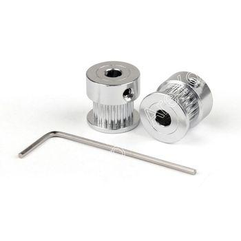 Areyourshop Sale 2Pcs GT2 20T 5mm Bore Aluminum Timing Belt Pulley