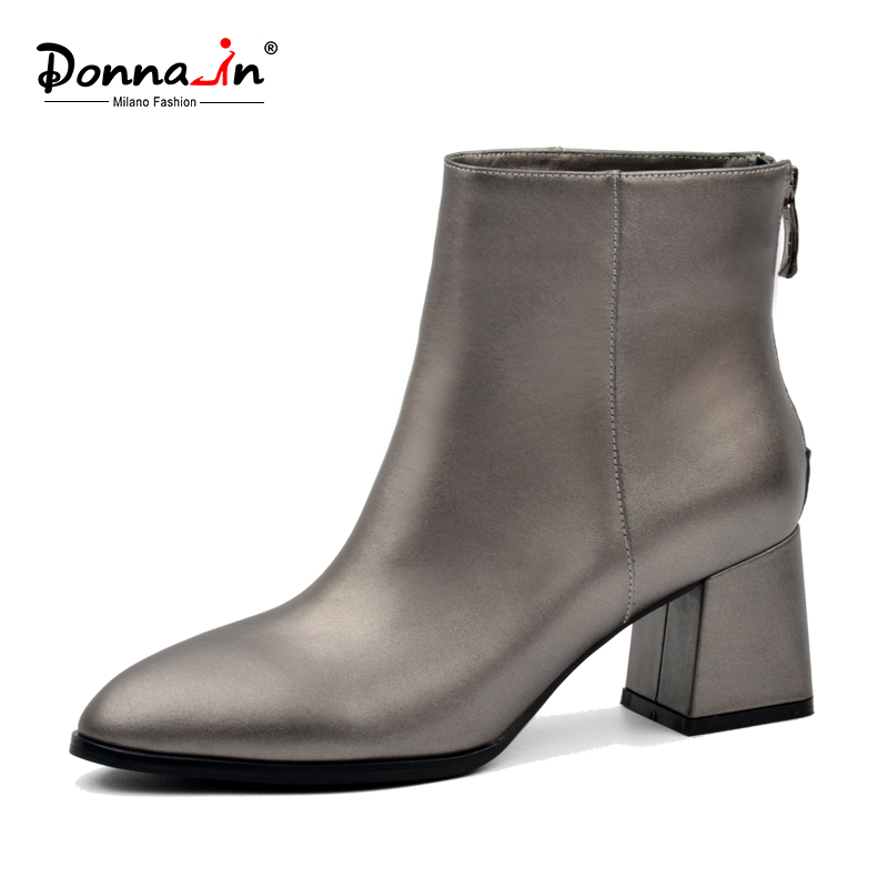 Donna-in 2018 Classic elegant Ankle Boots round Toe thick heels women shoes metallic pewter genuine leather Ladies single boots donna in genuine leather women boots shoes classic round toe thick heel ankle boots black calf leather ladies boots