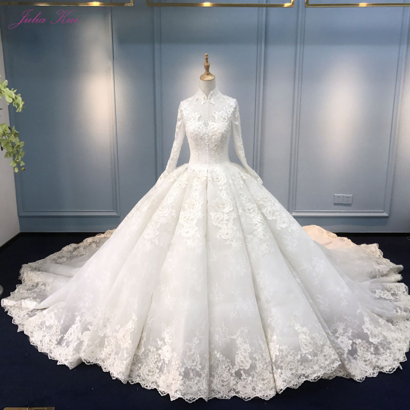 Julia Kui Real Photo Vintage Embroidery Lace Ball Gown Wedding Dress Beading Appliques High Collar Bridal Gown Vestido De Novia