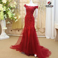 New Sparkly Boat Neck Red Lace Appliques Beaded Long Prom Dress Sexy Mermaid Tulles Formal Party Evening Gowns Dresses Vestidos