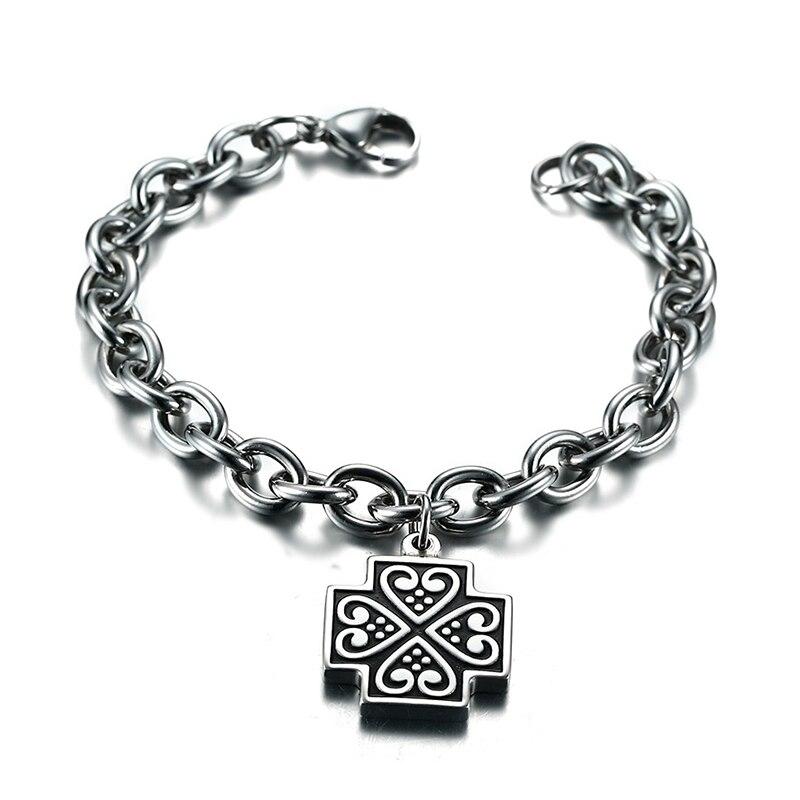 Vintage Men Braslet Surgical Steel Enamel Holy Christian Cross Charm Chain Link Bracelet Unisex Jewelry Pulseira ,19.5cm