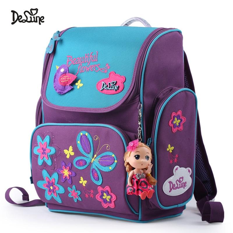 2019 New Delune Orthopedic School Bags for Girls Kids Bag Children 3D Cute Bear Flower Pattern School Backpack Mochila Infantil