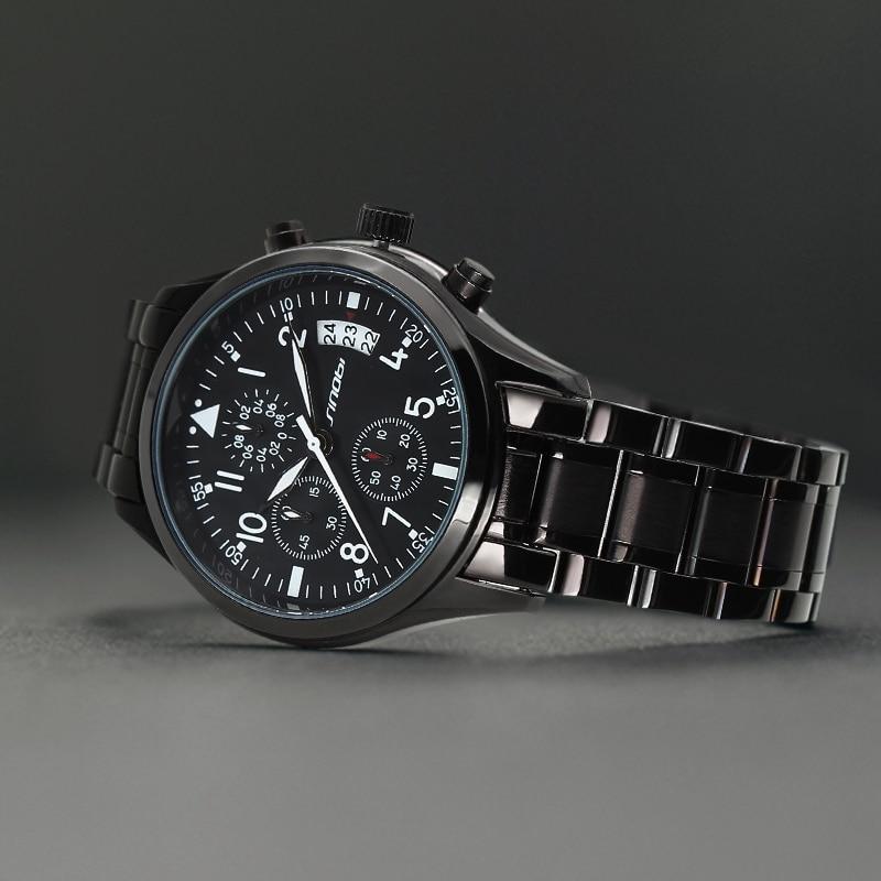 SINOBI Sport Mäns Chronograph Pilots Armbandsur Svart Stål - Herrklockor - Foto 4