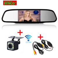 BYNCG Car 5 inch Monitor Wireless Parking Assistance Digital TFT LCD Mirror Wireless Rear view Camera Auto Monitor