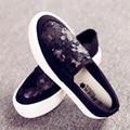 Lentejuelas zapatos de lona para ayudar a los bajos mocasines estudiante femenina de Corea plana con gruesa corteza del mollete zapatos casuales pedal perezoso zapatos