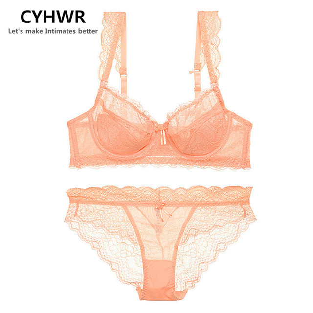 cdf56bacb CYHWR Sexy Lace with Padded Comfortable Underwear Transparent Adjustable  Women Solid Ladies Bra Sets