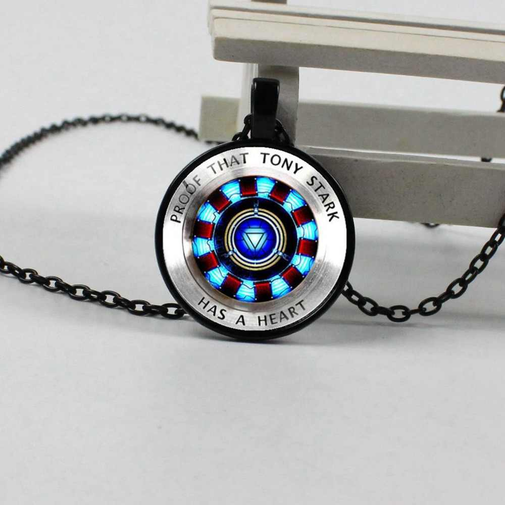 2019 new hot iron man heart crystal glass round pendant gift jewelry necklace