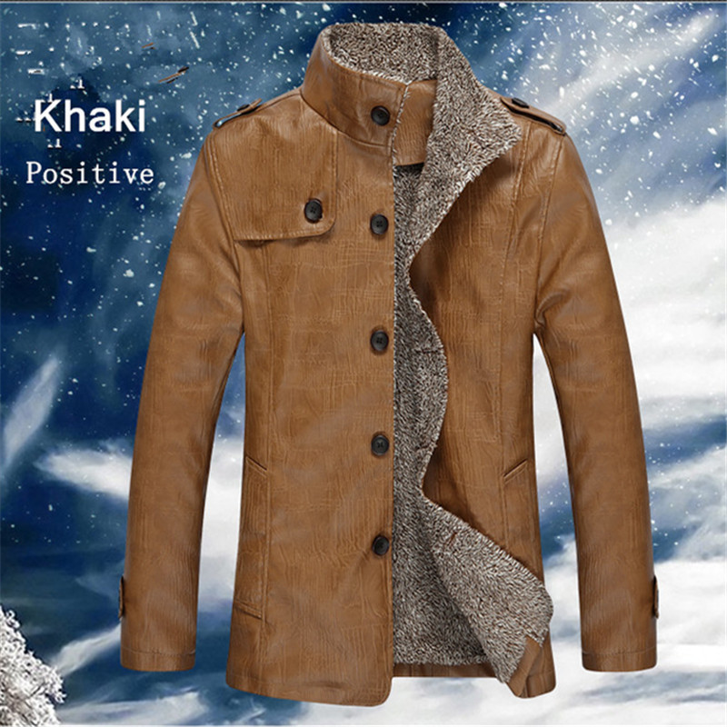 ФОТО 2015 Hot Sale ski-wear, warm motorcycle leather jackets thick velvet leather jacket Men With Parka 3 xl jackets