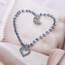 Pet Dog Crystal Jewelry Diamond Heart Rhinestone Pendant Necklace Collar