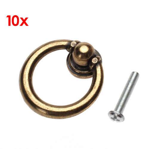 DHDL-10x Retro Furniture Hardware Drawer Drop Ring Pull Knob--Bronze Tone drop crotch loose two tone pants