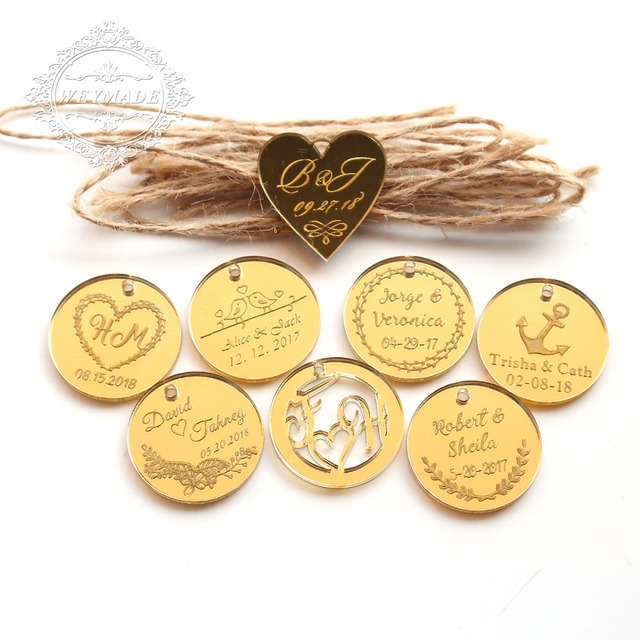 50 Personalized Engraved Anniversary Gold Coins Wine Charm Custom Bride Baptism Vintage Wedding Engagement Heart