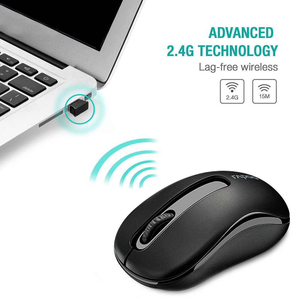 Original Rapoo 2.4 G Mini mouse optic wireless Fiabile 1000DPI șoareci cu receptor Nano USB pentru laptop Computer Desktop Office