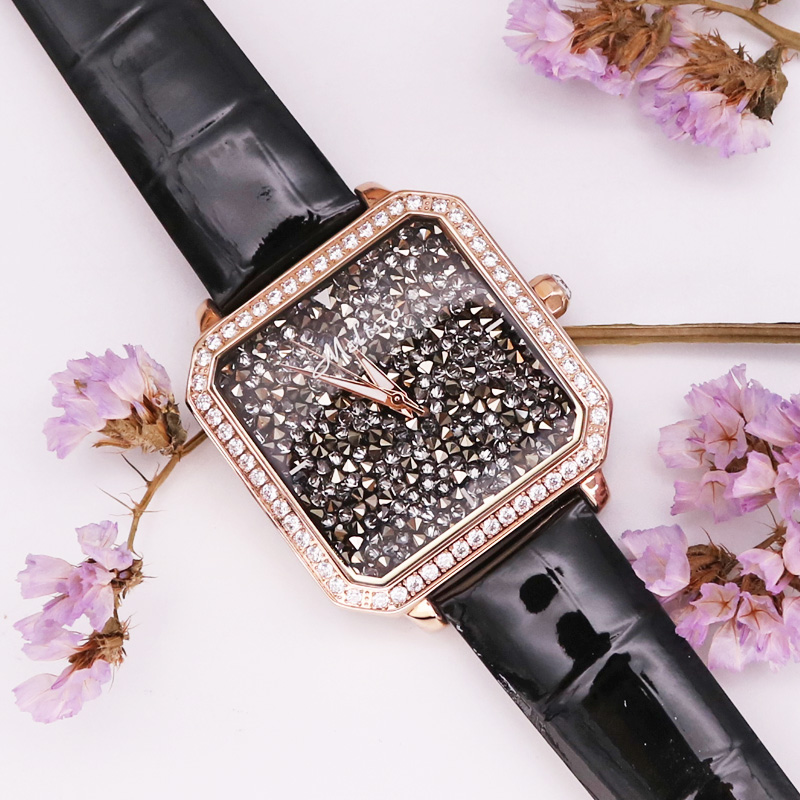 Melissa Lady Women's Watch Big Hours Fine Fashion Jewelry Clock Leather Bracelet Luxury Brand Girl Rhinestones Birthday Gift Box melissa bangle lady women s watch japan quartz mother of pearl hours fine fashion luxury rhinestones clock girl s birthday gift