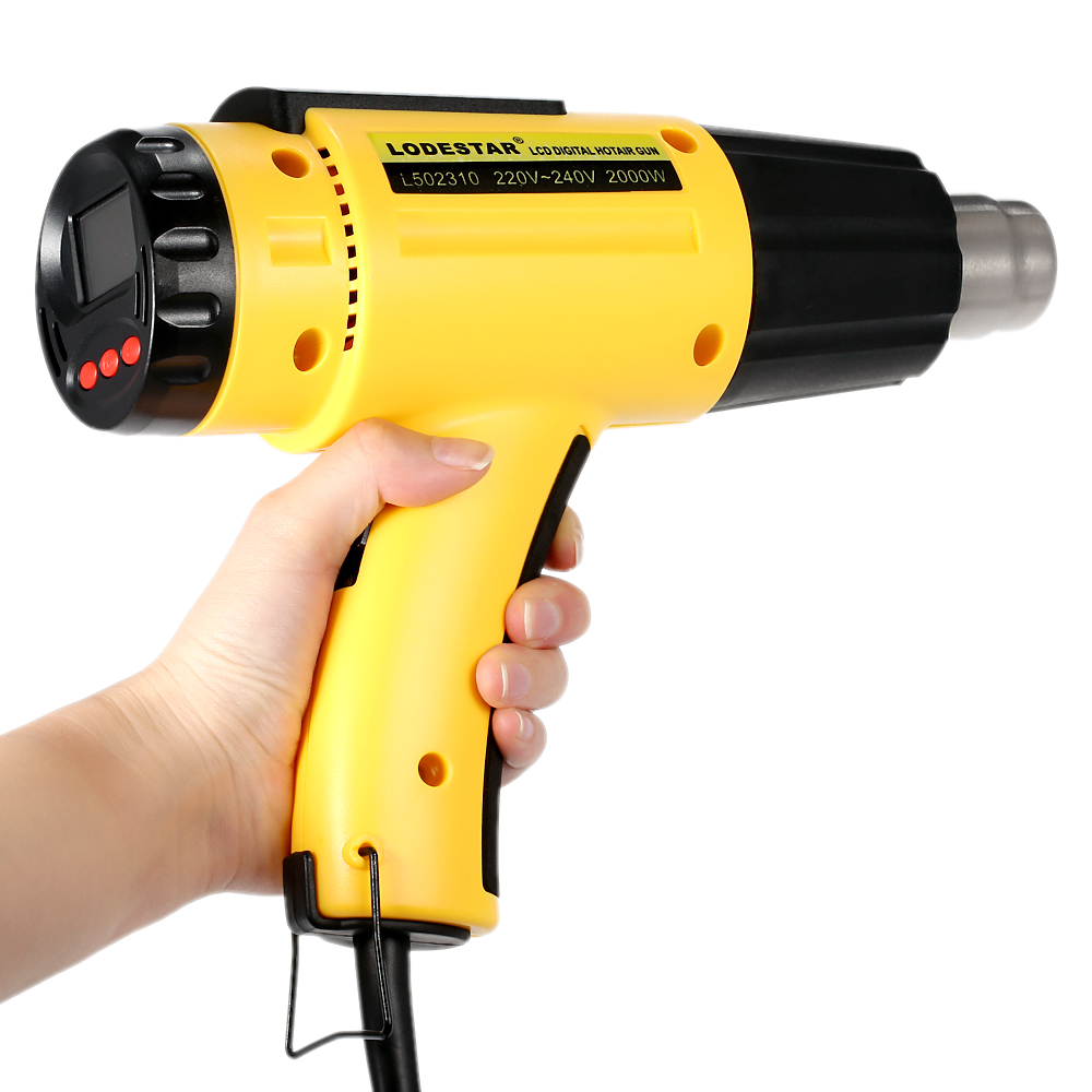 Hot 2000W LODESTAR Digital Electric Hot Air Gun Temperature-controlled Heat IC SMD Quality Welding Tools Adjustable + Nozzle 220v 50hz 1600w digital electric hot air gun temperature controlled heat ic smd quality welding tools adjustable air flow gun