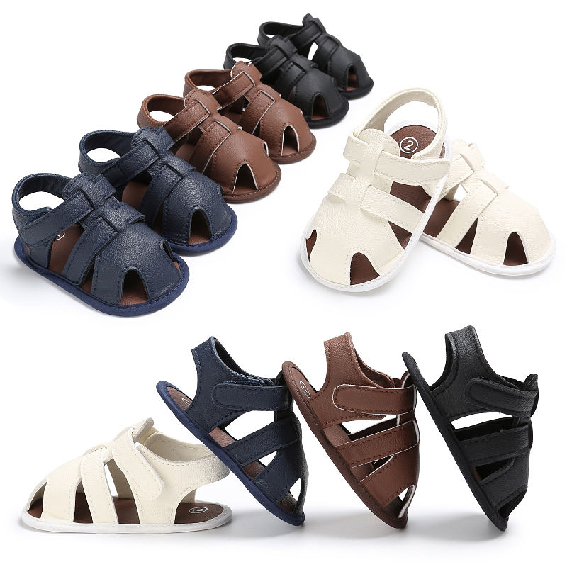 Summer Newborn Baby Boys Shoes Soft  First Walkers Toddle Boy Leather Breathable Hollow Out Baby Slippers Prewalker Shoes Beach