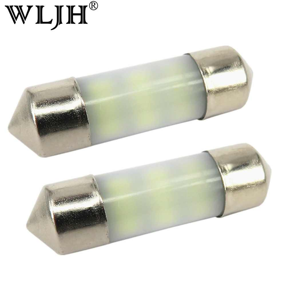 WLJH 2x No Polarity 31MM 36MM 39MM 42MM LED Bulb SV8.5 C10W C5W 3014 SMD Dom Reading Trunk light Registration Number Plate Light