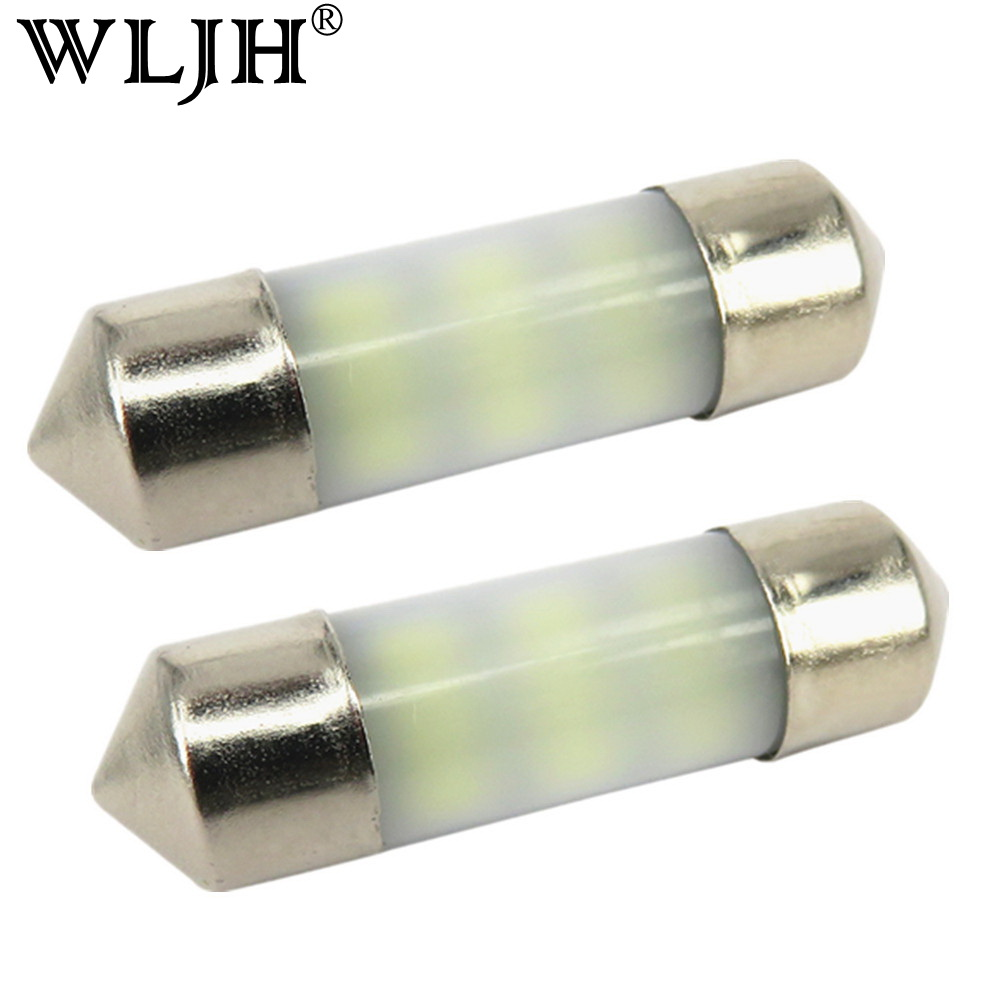 WLJH 2x No Polarity 31MM 36MM 39MM <font><b>42MM</b></font> <font><b>LED</b></font> <font><b>Bulb</b></font> SV8.5 C10W C5W 3014 SMD Dom Reading Trunk light Registration Number Plate Light image