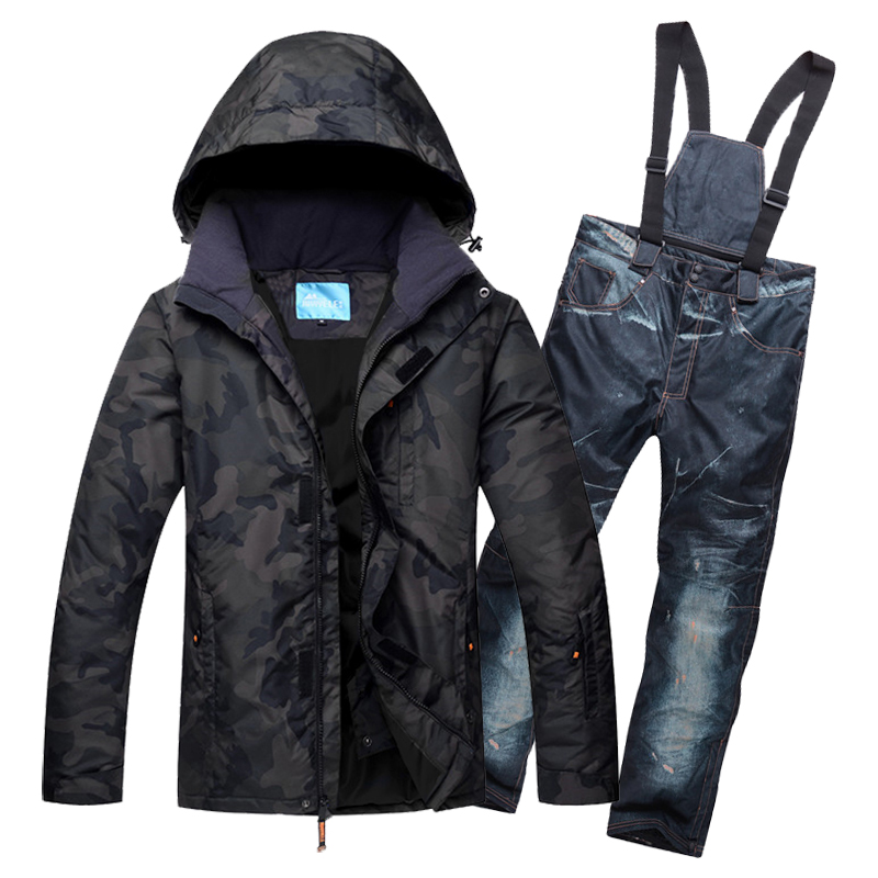 Camo Print Men Snowboard Suit Jacket and Bib pant High Waterproof Breathable Snow Skiing Set For Man Suspender Ski Pants M-3XL men geo print jacket