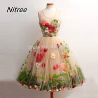 2017 Custom made Vestido De Formatura Party Homecoming Flower Cocktail Dress Couture Knee Length Graduation Dress For Teens Cute
