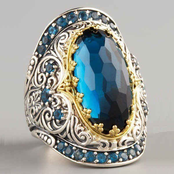 Big Blue Stone Ring For Men Punk Jewelry Carved Pattern Knuckle Rings Men Championship Rings Bague Masculine Aquamarine Ring