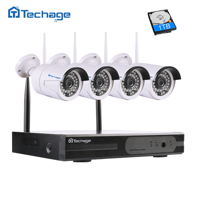 Techage Plug And Play 4CH 1080P Full HD Wireless NVR Kit 2MP Outdoor Security IP Camera P2P Video Surveillance Wifi CCTV System