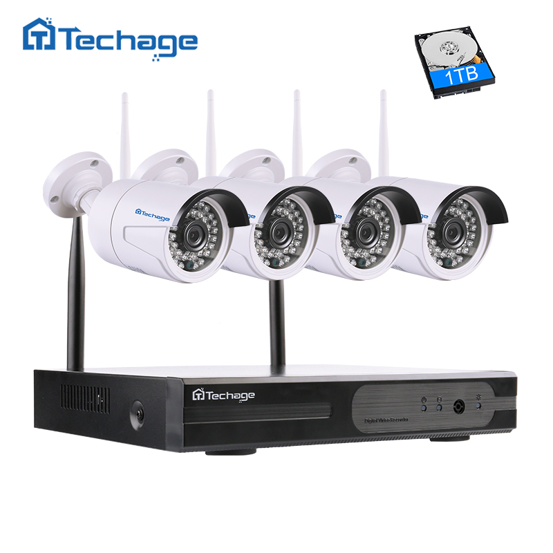 Techage Plug And Play 4CH 1080P HD Wireless NVR Kit 2.0MP Outdoor Security Wifi CCTV IP Camera P2P Video Surveillance System Set new listing plug and play 4ch wireless nvr kit 7 inch lcd screen 720p hd outdoor security wifi camera cctv system 1tb hdd