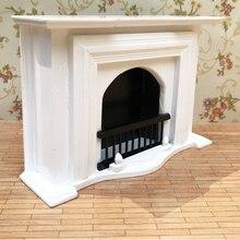 Белый 1/12 деревянный камин модель мебель кукольный домик Гостиная Спальня Аксессуар