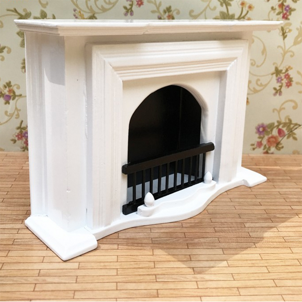 White 1/12 Wood Fireplace Model Furniture Dollhouse Living Room Bedroom Accessory