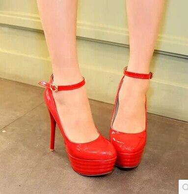 Nueva rojo zapatos Plataforma Negro Bien Alto Redonda Primavera blanco De Manera Tacón La Con Ultra azul Charol 2016 Tamaño Sección Impermeable OnIwzqwH