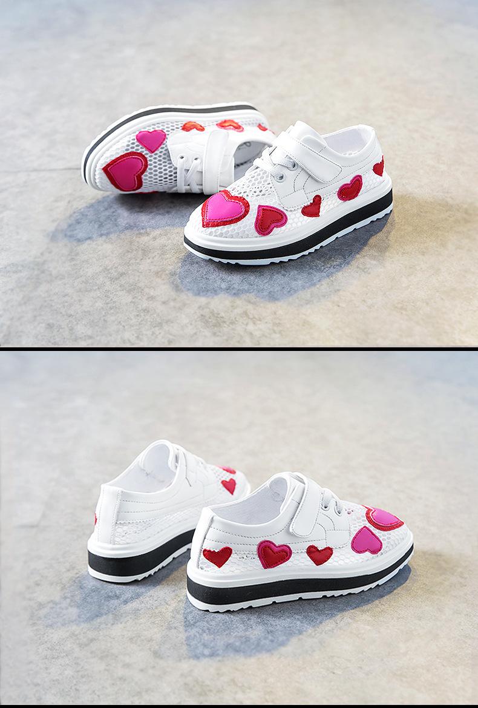 17 Spring girls slip-on love heart shoe for children fashion mesh shoe baby girl brand casual sneaker platform kid sneakers 3