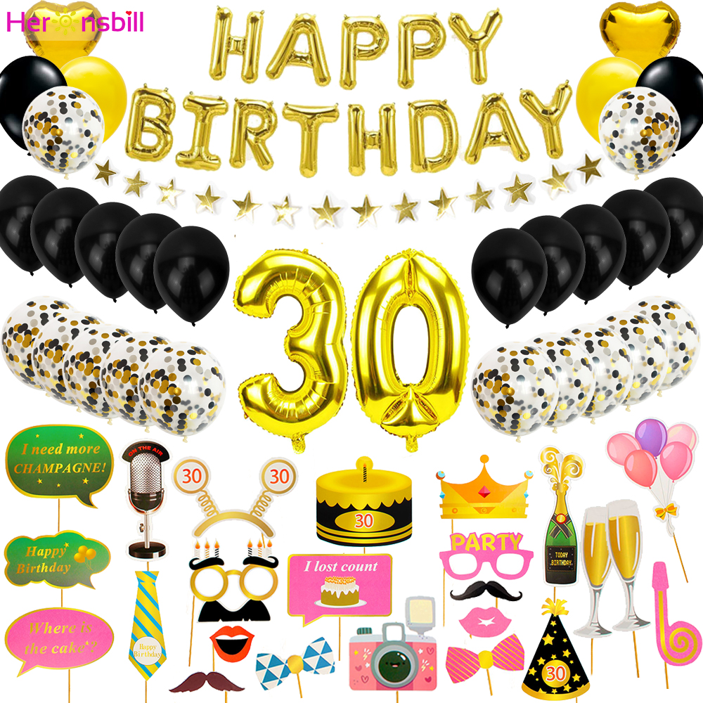 24pcs 30 40 50 60 70 Foil Balloons Happy Birthday Photobooth Props 30th 40th 50th 60th Years Party Photo Booth Decorations Adult