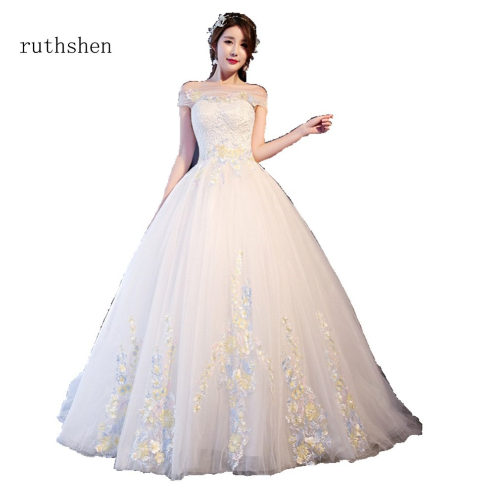 Simple Wedding Dresses Boat Neck: Ruthshen 2018 Simple Boat Neck Princess Ball Gowns Wedding