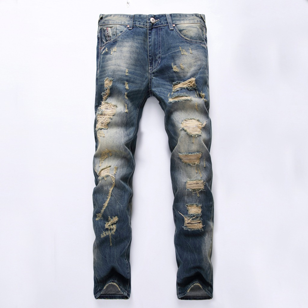 2017 New Fashion Blue Distressed Jeans Men Famous Brand Designer Ripped Jeans Denim Biker Jeans High Quality Pants Size 28 To 36 rl629 men s blue jeans slim fit denim ripped pants uomo high quality designer brand clothing moto biker jeans with logo men