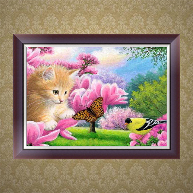 5d Diy Diamond Cat Cross Stitch Diamond Embroidery Foil Diamond Mosaic Picture Needlework