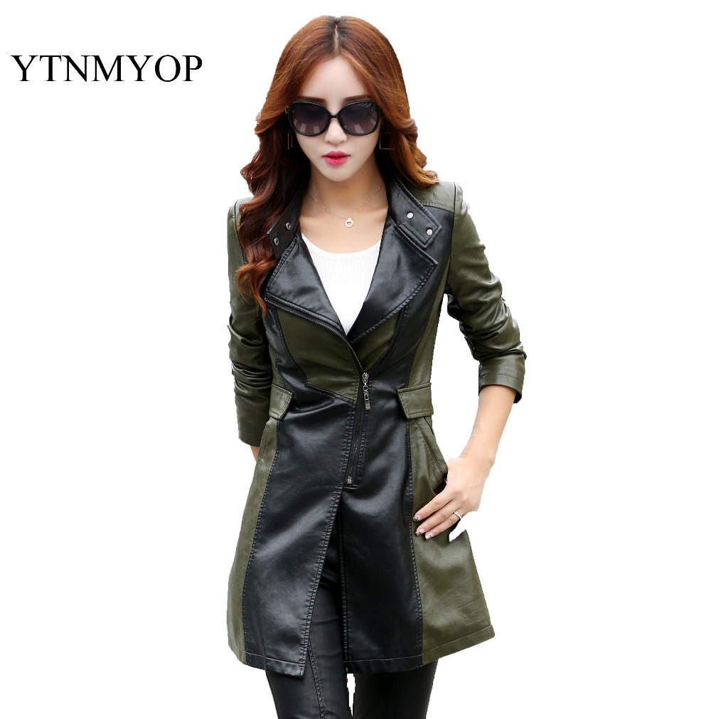 Women's   Leather   Trench Coat 2019 Hot Sale Top Fashion   Suede   XS-XL Army Green Long Zipper Jacket Outerwear Young Girls Clothing