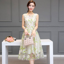 2017 Summer New Fashion Women Clothing Korean Style Sleeveless Organza Dress A-line Empire Printing Zipper Dresses Female QH0085