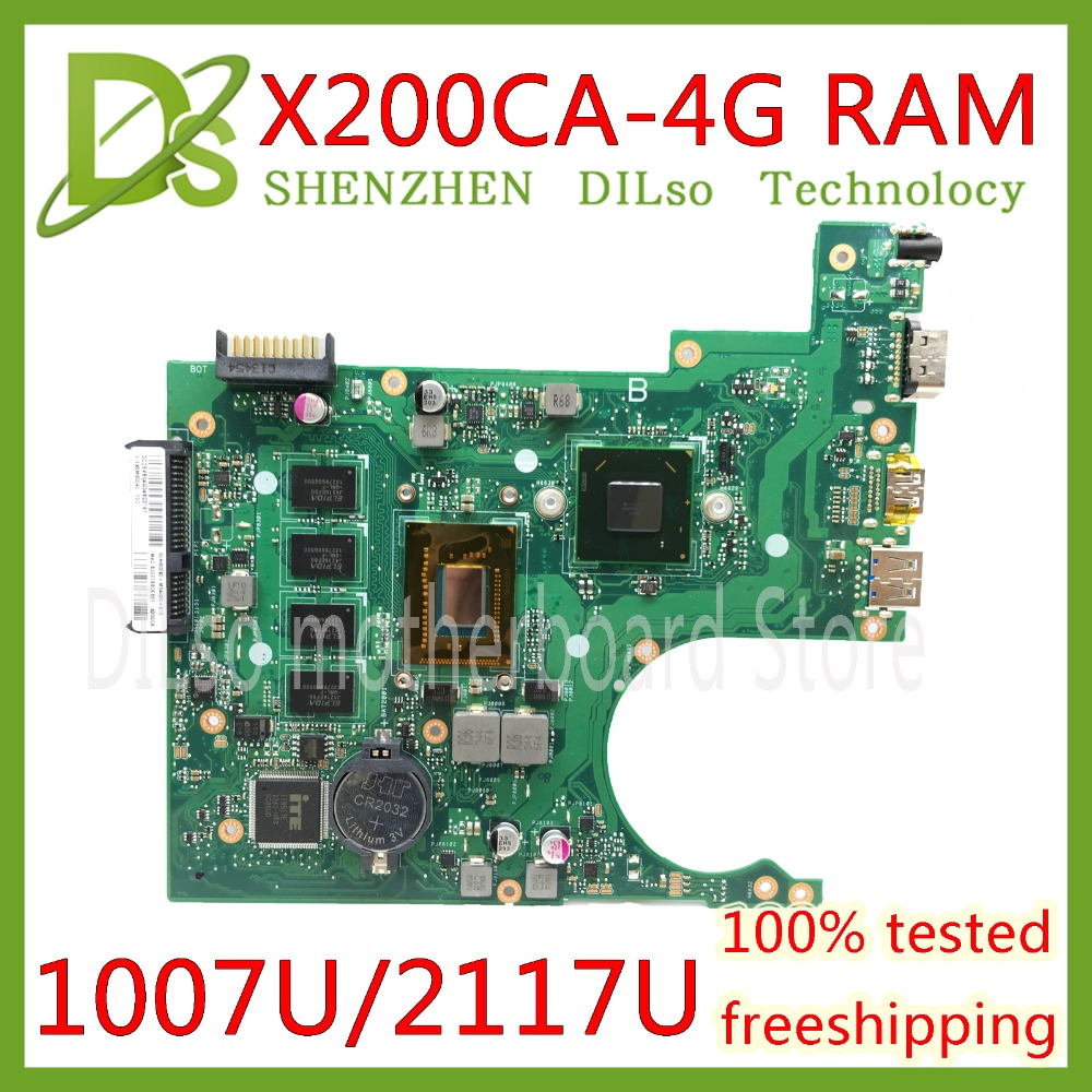KEFU X200CA For ASUS X200CA X200CAP Laptop Motherboard 1007U/2117U CPU 4GB MEMORY motherboard  REV2.1 100% Test  WORKKEFU X200CA For ASUS X200CA X200CAP Laptop Motherboard 1007U/2117U CPU 4GB MEMORY motherboard  REV2.1 100% Test  WORK