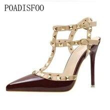 a4e549c91 Poadisfoo 2017 мода Насосы Обувь Пикантный острый носок заклепки женские  Обувь шпильки полый супер высокая обувь