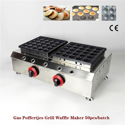 Gas Poffertjes Machine Double Pans Stainless Steel with Non-stick Pan Poffertjes Grill Waffle Maker with 50 pcs Moulds