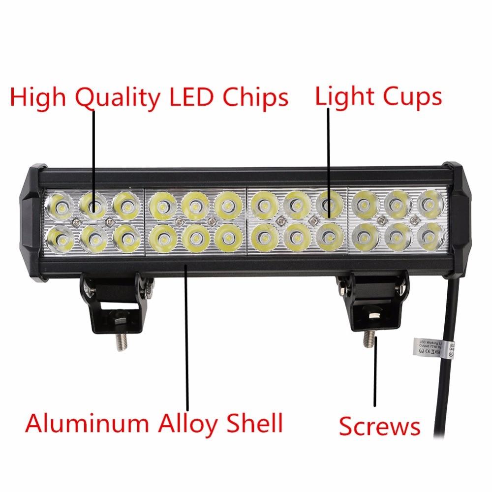 1 հատ 12 դյույմ 5700LM 72W LED թեթև բար Offroad - Ավտոմեքենայի լույսեր - Լուսանկար 2