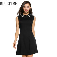 BLUETIME Vintage Summer Dress Women Elegant Black White Plus Size Sleeveless A Line Club Party Rockabilly