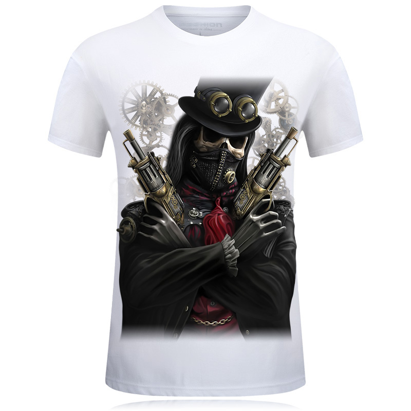 Fashion 2018 3D Print Skulls Palace T Shirt Men Tees Cotton Short Sleeves Casual Hip Hop ...
