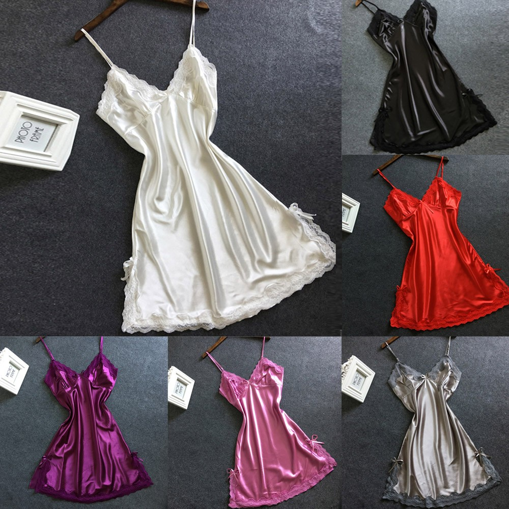 Plus Size Night Dress Nightgown Sexy Nightwear Lace Patchwork Camisola Lingerie Nighty Silk Dress Sleep Wear Nightdress Clothes(China)