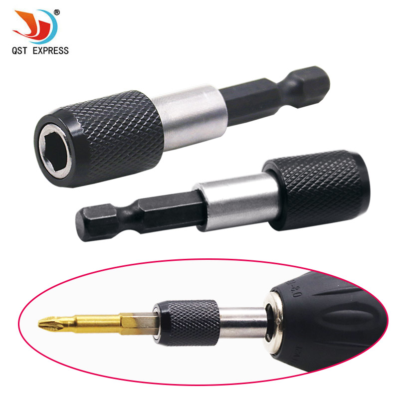 New Black 1/4 Hex Shank Quick Release Electric Drill Magnetic Screwdriver Bit Holder 60mm High Quality